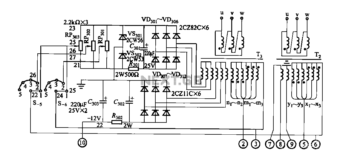 FGDF-3 three-phase low-temperature iron plating power supply circuit - schematic