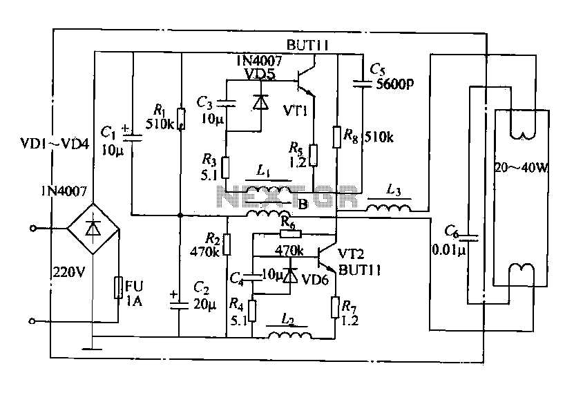 Fluorescent energy-saving electronic ballast circuit - schematic