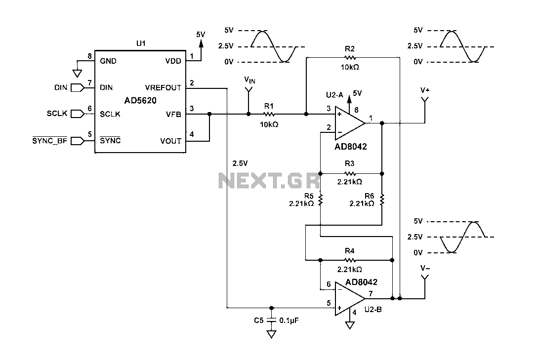 Electronic Circuit Diagrams Of Circuits Cmos With Rc Timing For Differential Drive Diagram A Voltage Output Dac Ad5620