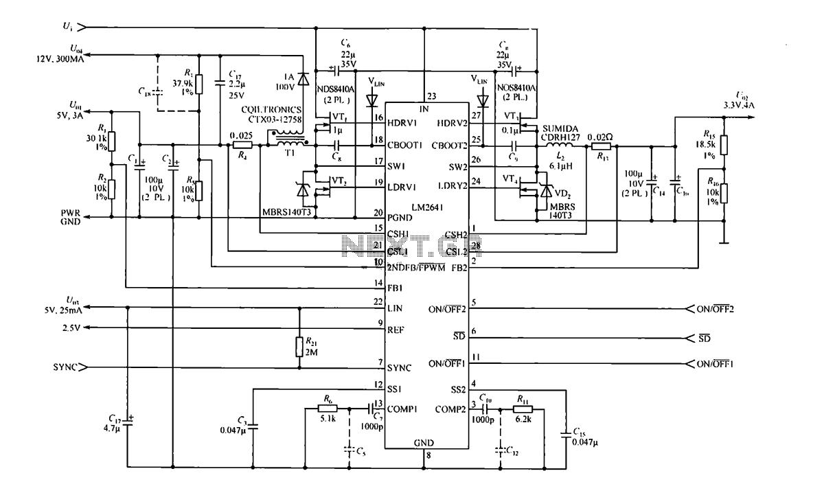 Four output configuration output 5V LM2641 3A 3.3V 4A 12V 0.3A and 5V 0.025A - schematic