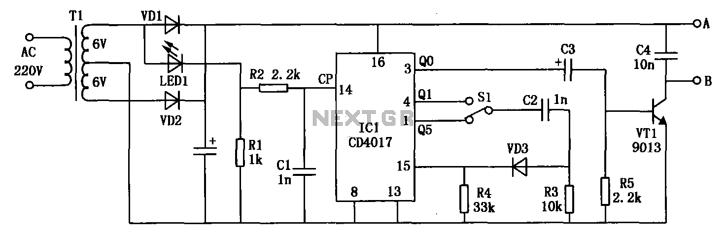 Frequency electromagnetic RBI timer CD4017 - schematic