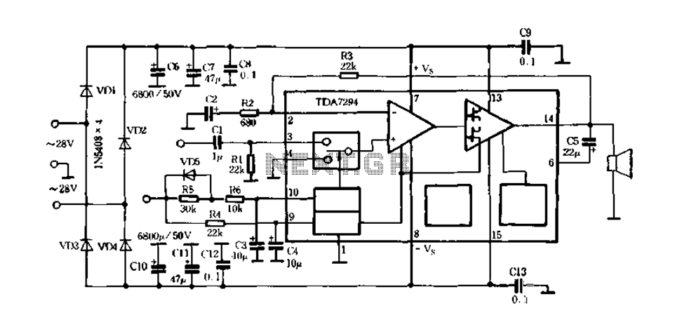 HI-FI integrated amplifier TDA7294-01 - schematic