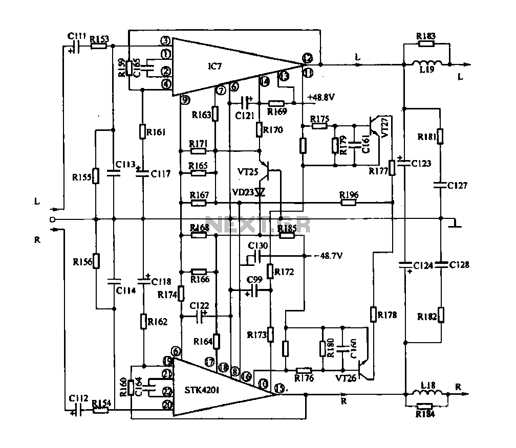 IC audio power amplifier circuit - schematic