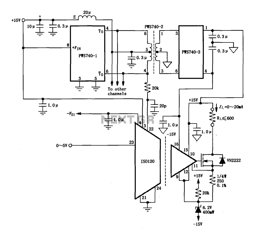 ISO120 eight-channel isolated and PWS740 0 ~ 20mA current loop circuit diagram - schematic