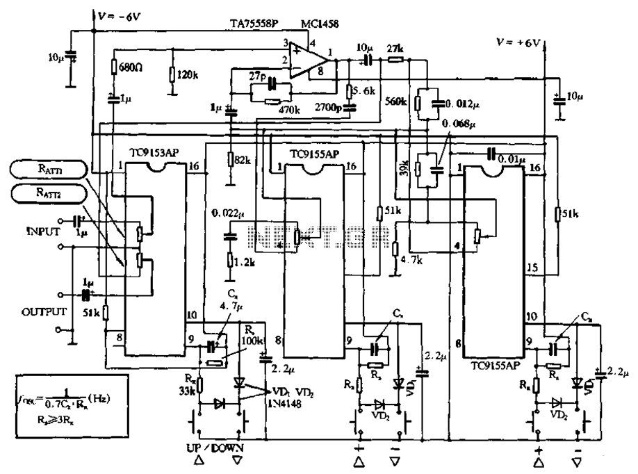 Integrated digital volume potentiometer circuit - schematic