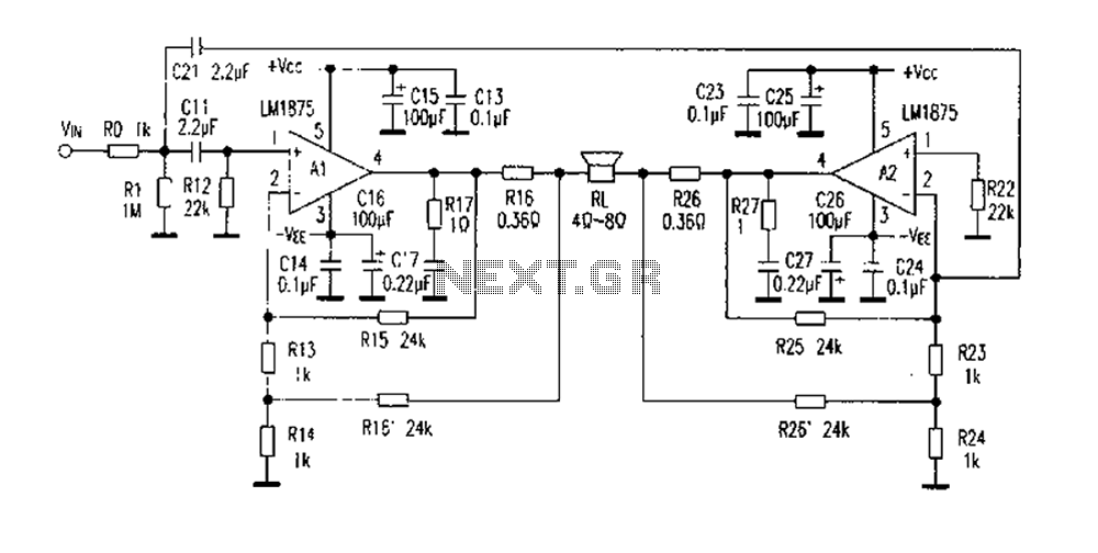 LM1875 DC current of the negative feedback circuit BTL - schematic