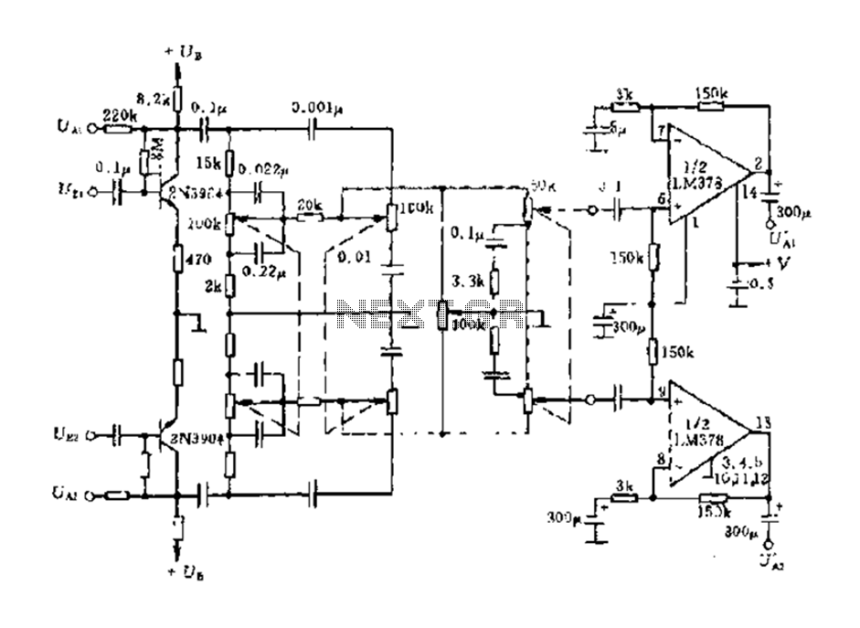 LM3886 two-channel audio amplifier circuit diagram - schematic