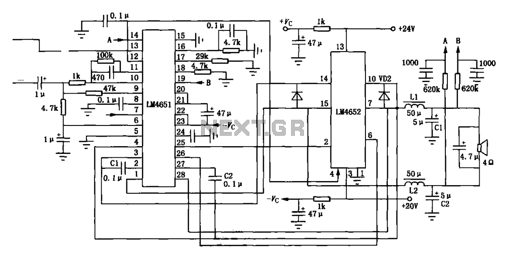 LM4561 LM4562 consisting of 170W power amplifier circuit - schematic