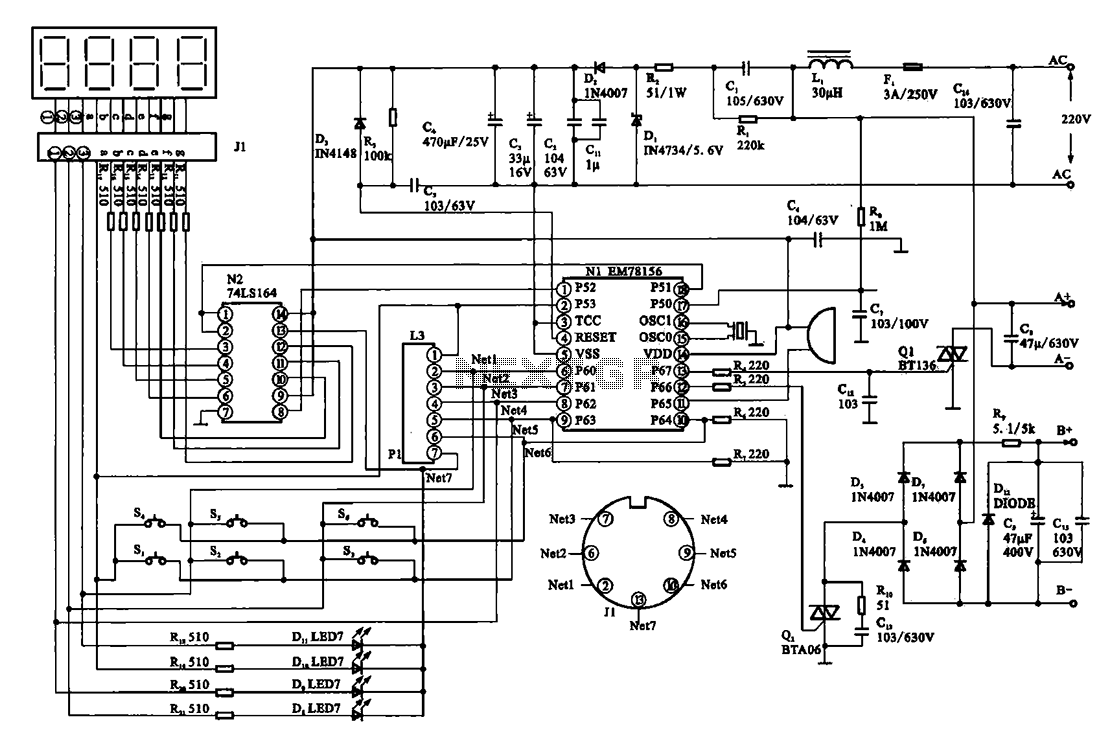 Massage digital display circuit - schematic