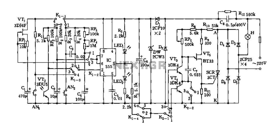 Monitor circuit diagram with over 555 - schematic