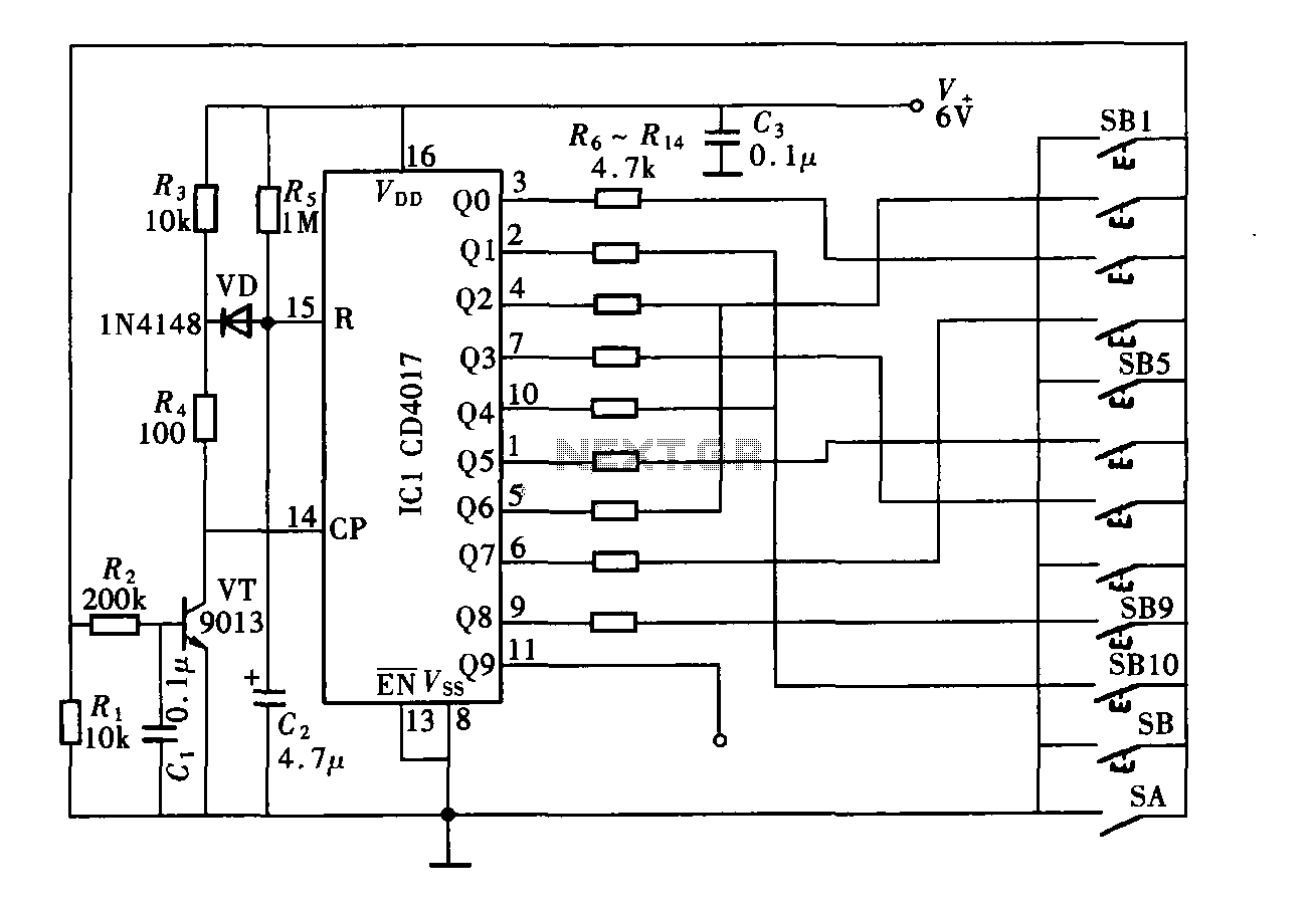 Nine-digit password composed of the controller circuit diagram CD4017 - schematic