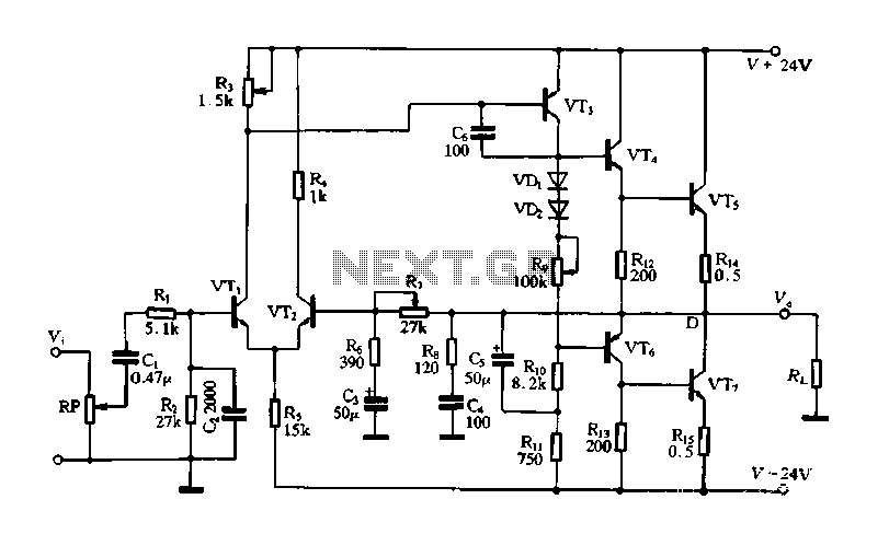 OCL power amplifying circuit - schematic