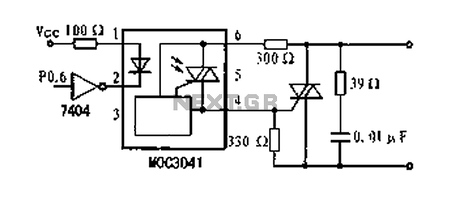 Optocouplers MOC304 dimming control circuit diagram