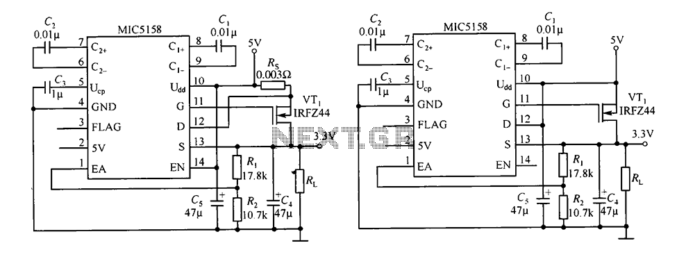 Peripheral circuits MIC5158 a simple 5V input 3.3V 10A output linear regulator circuit