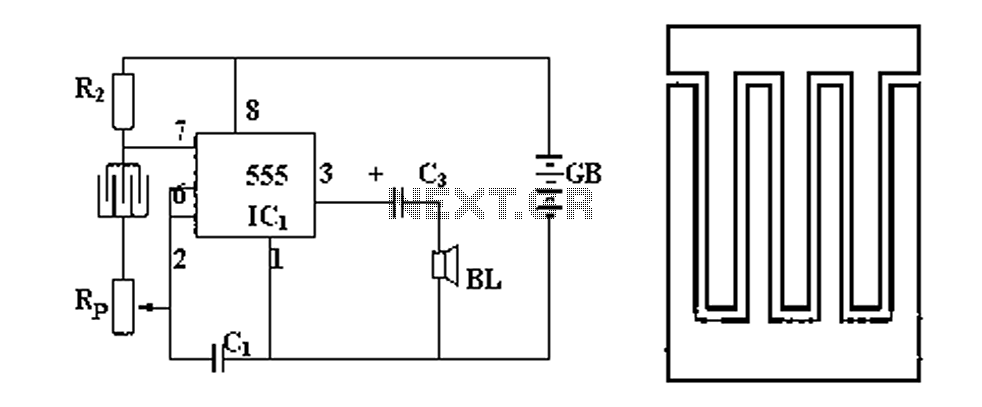 Rain alarm schematic circuit diagram - schematic