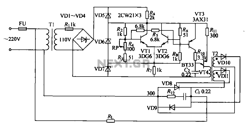 SCR furnace temperature regulating circuit - schematic
