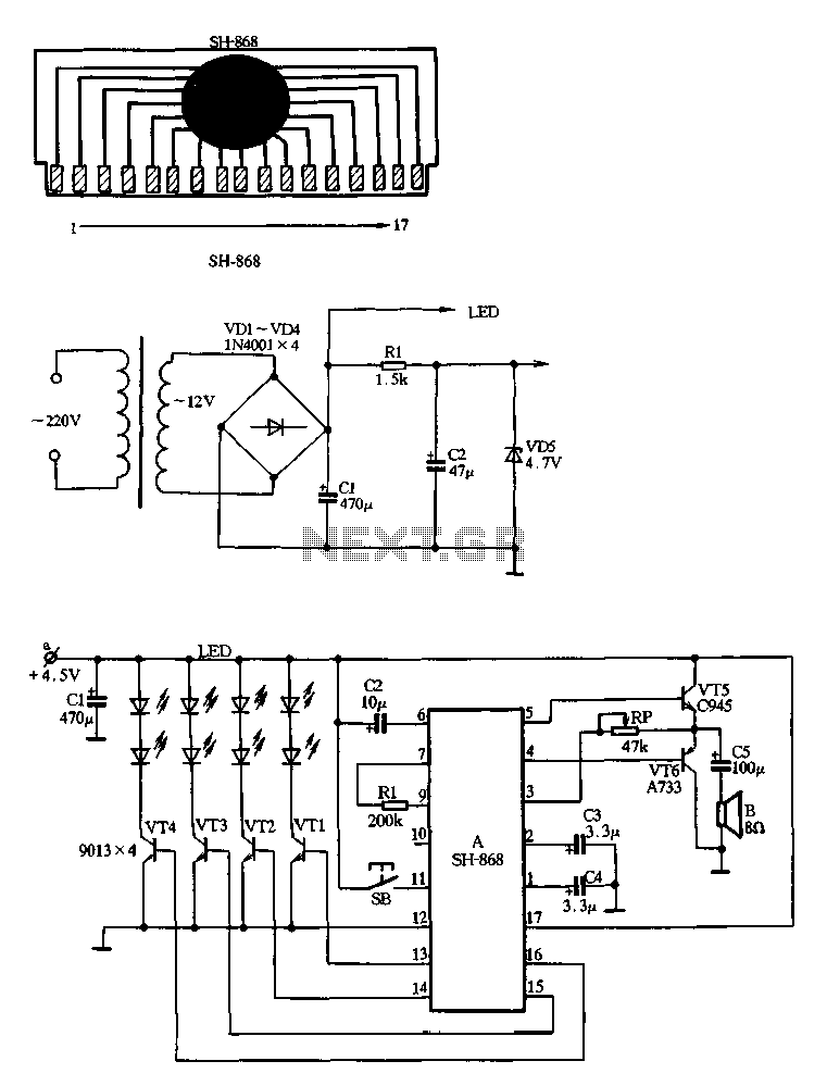 SH-868 ASIC holiday lights - schematic