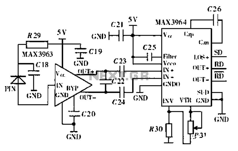 Secret Ethernet optical wireless communication drive circuit diagram
