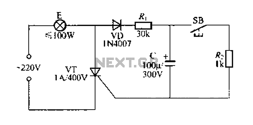 Simple delay lamp circuit 1 - schematic