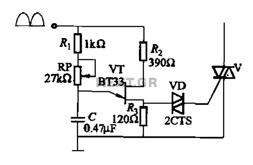 Single-junction transistor a phase-shift trigger circuit - schematic