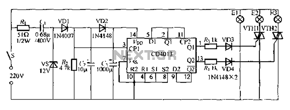 Single multi-lamp switch control circuit 2 - schematic