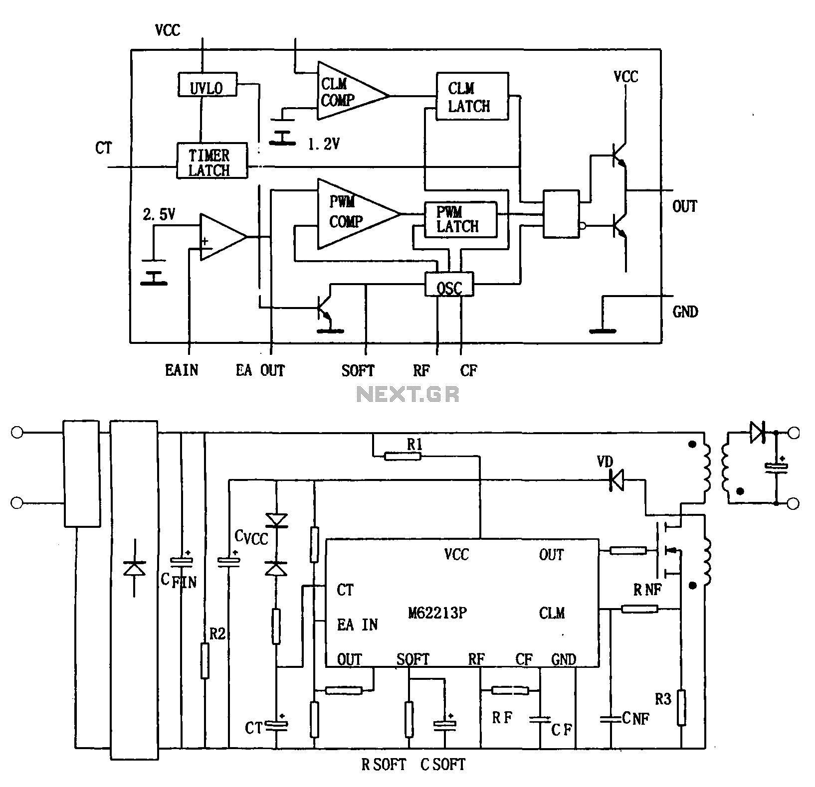 Switching power supply from the high-speed switching power supply controller M62213FP - schematic