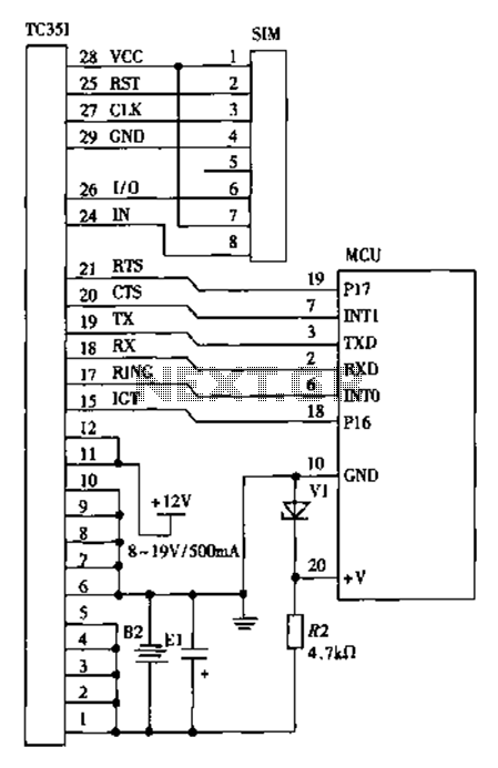 TC35I use wireless data transmission and GSM communication module circuit design schematics - schematic