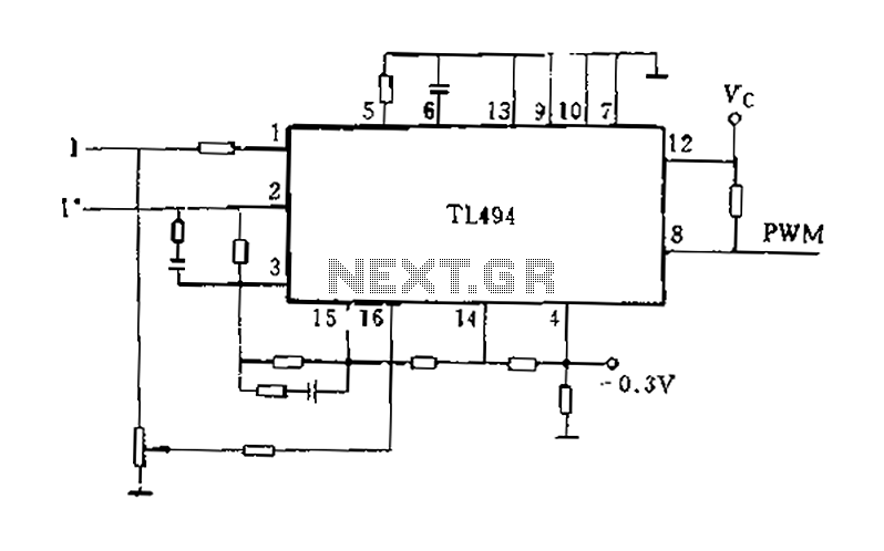 TL494 regulator for the current application - schematic