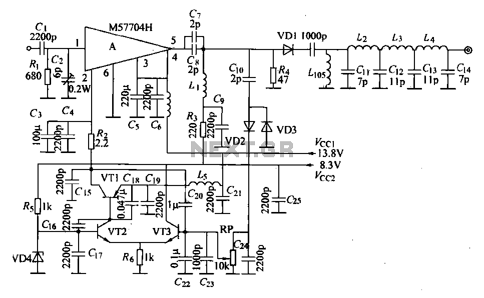TW-42 FM radio transmitter high-frequency amplifier circuit section - schematic