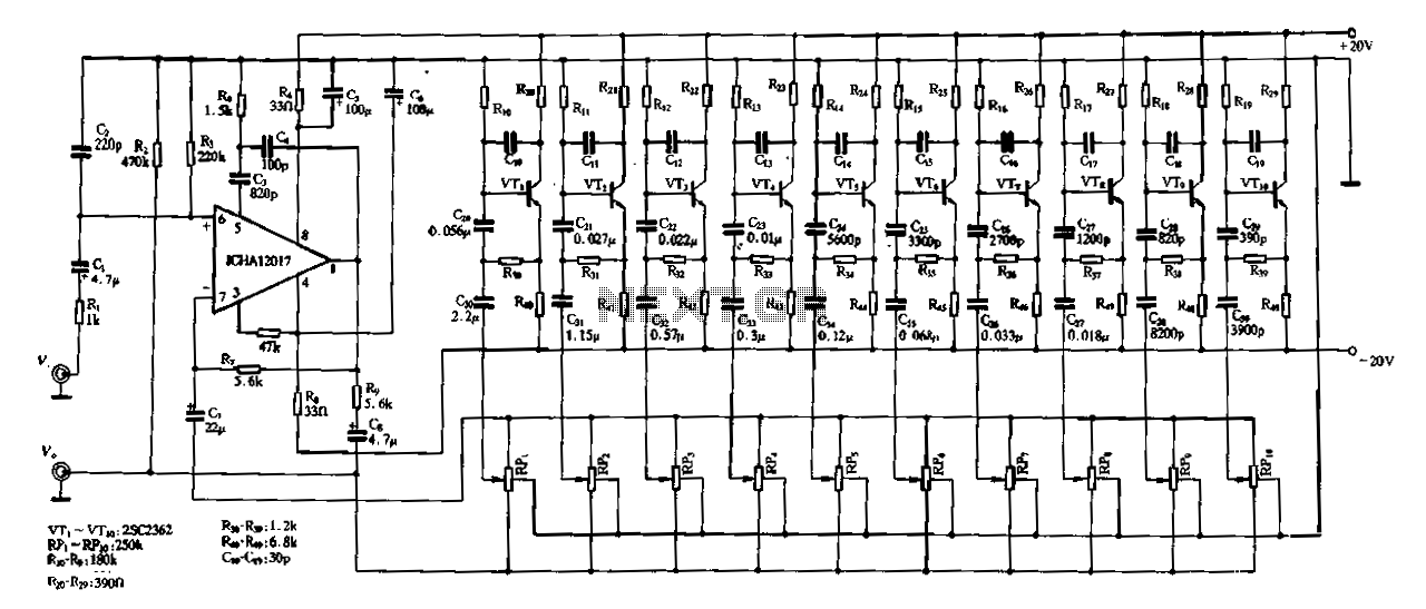 Ten-segment frequency equalizer - schematic