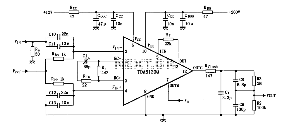 Test circuit diagram with feedback factor of 1 83 of TDA6120Q - schematic