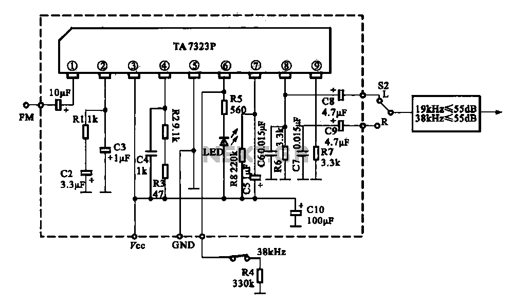 the fm demodulation circuit using ta7343 under fm radio circuits