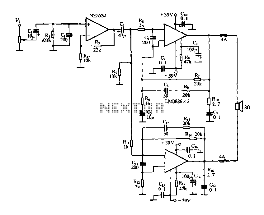 The LM3886 BTL amplifier - schematic
