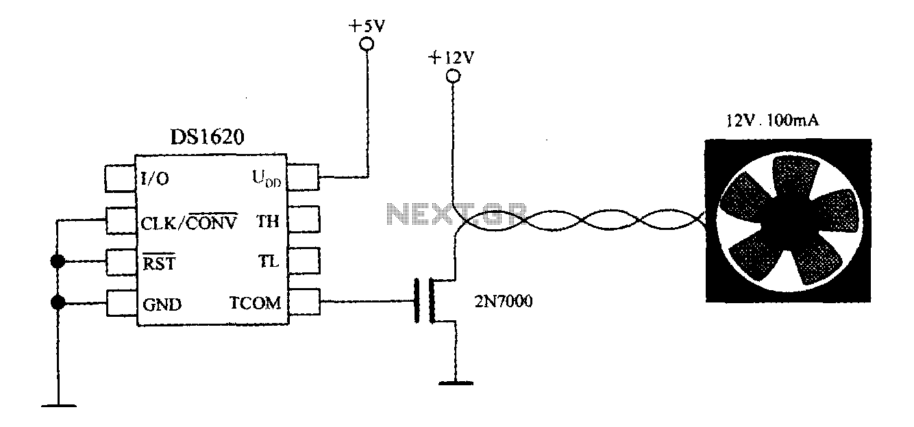 Thermostat with three-wire serial interface smart temperature sensor DS1620 configuration control circuit - schematic
