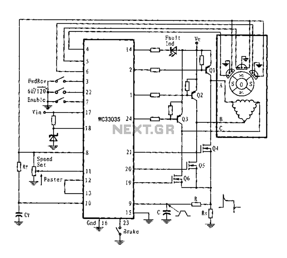 Three-phase six-step motor control circuit diagram composed of MC33035