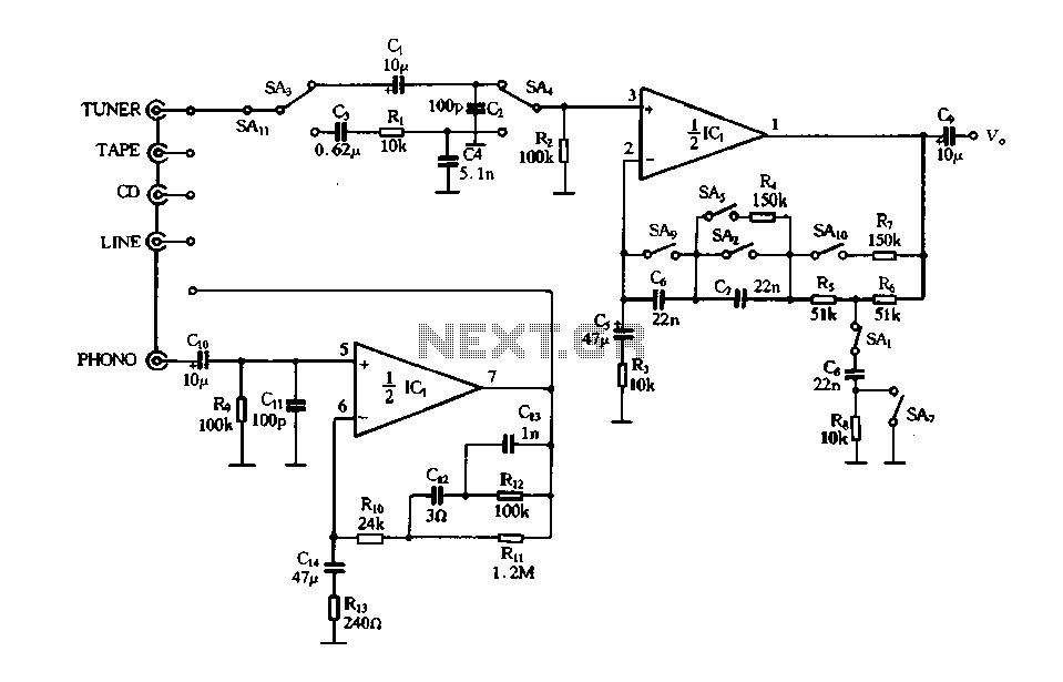 Tone selector circuit - schematic