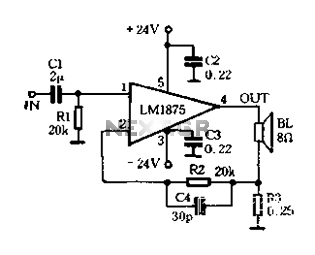 Using current feedback amplifier circuit of LM1875 - schematic