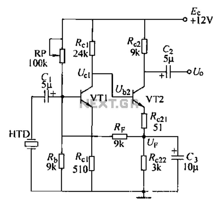 Voice amplifier transistor - schematic