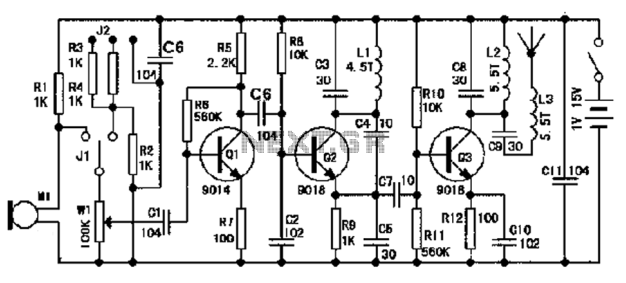 Wireless microphone circuit diagram consisting of transistors 9018 - schematic