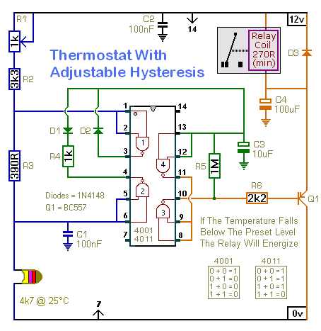 A Thermostat With Adjustable Hysteresis - schematic
