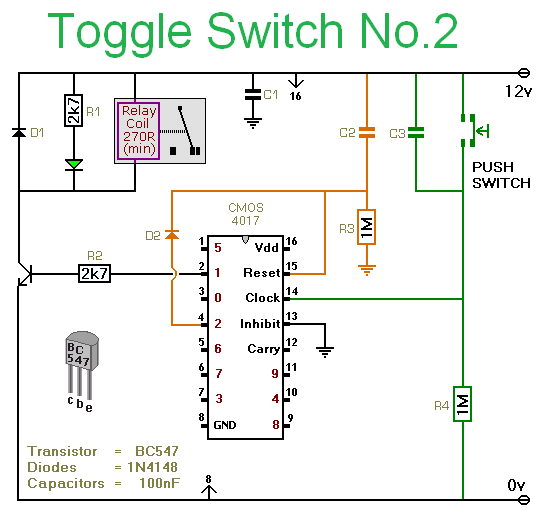Toggle Switch with relay - schematic