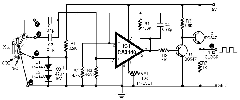 1Hz Clock Generator Circuit with Chip On Board (COB) - schematic
