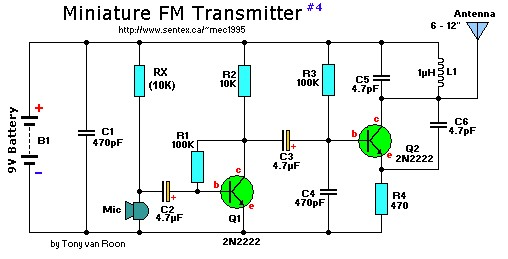 2 Transistor Mini FM Transmitter - schematic