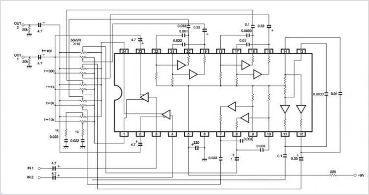 BA3822FS 5-channel Stereo Graphic Equalizer - schematic
