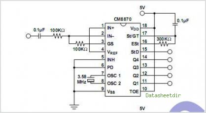 CM8870 CMOS Integrated DTMF Receiver - schematic
