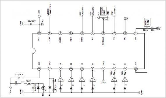 CXA1821M Rf Amplifier For Cd Players - schematic