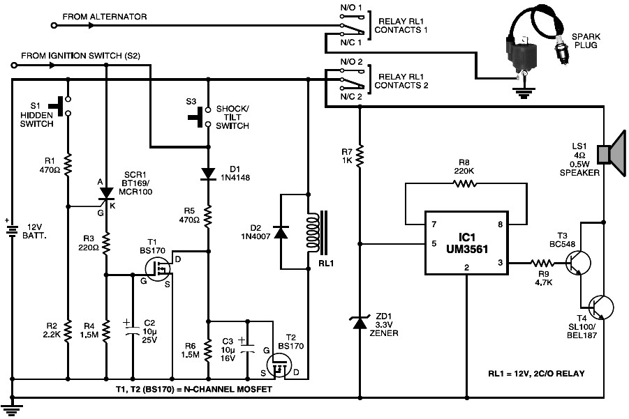 Cheap Motorcycle Alarm - schematic