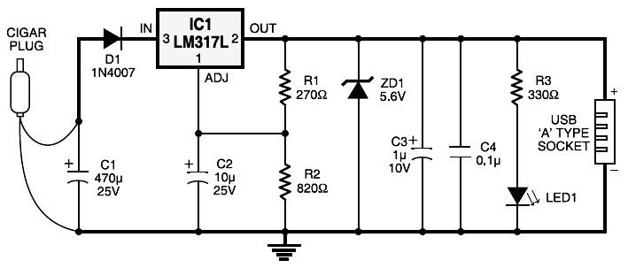 Cigar Lighter Plug to USB Power Socket - schematic