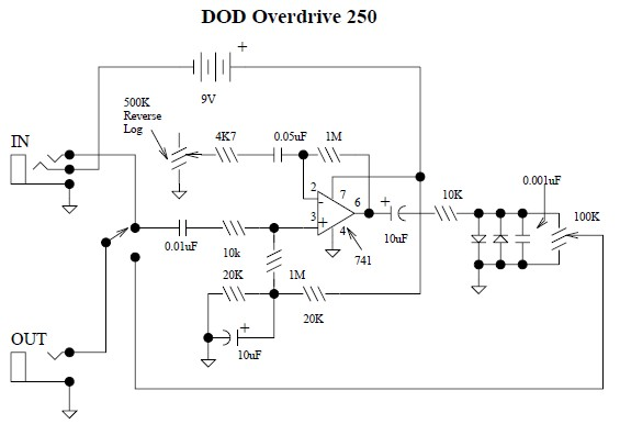DOD Overdrive 250 preamp circuit diagram - schematic