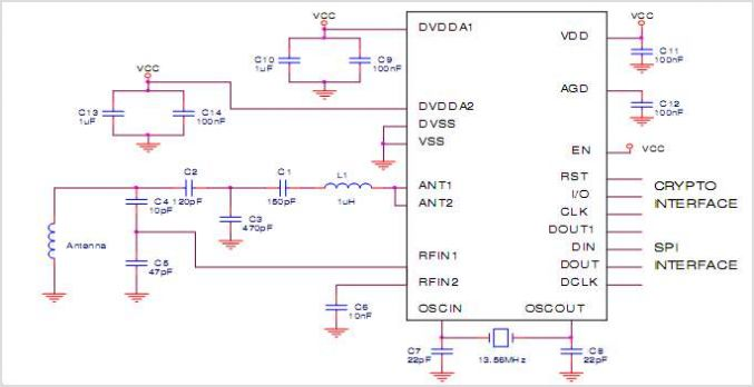 EM4294 13.56MHz Crypto Analogue Front End Circuit For High Secure RFID Communication